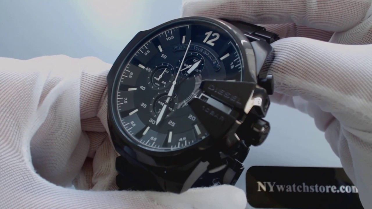 Men s Black Diesel Mega Chief XL Chronograph Watch DZ4283 - YouTube 6e5231d626d