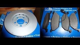 Замена передних тормозных дисков и колодок Шкода Октавия