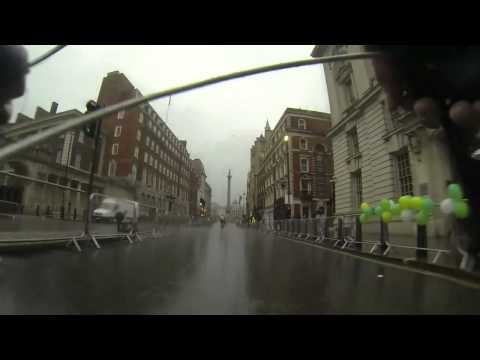 Finish of 2014 Prudential Ride London going past Westminster Parliament Downing Street to the Mall
