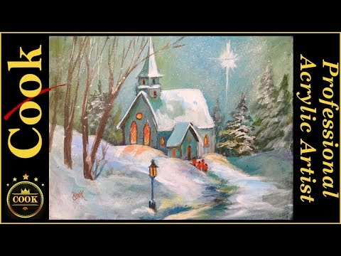 Snowy Church In The Woods An Acrylic Painting Tutorial For