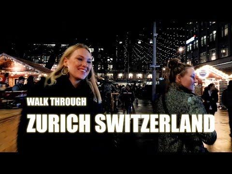 Take a Walk Through Zurich, Switzerland, Christmas, Night