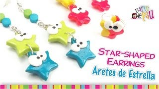 Star-shaped earrings Polymer Clay Tutorial / Aretes de estrella de Arcilla Polimérica Thumbnail