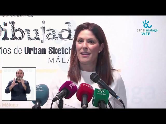 Noelia Losada presenta la exposición 'La ciudad dibujada. 10 años de Urban Sketchers Málaga'