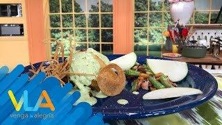 ¡Exquisitos muslos en salsa cremosa de cilantro!