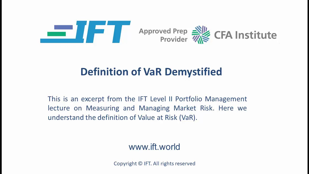 Level II CFA: Definition of VaR Demystified