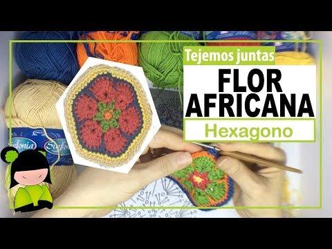 FLOR AFRICANA HEXAGONAL(flor africana de seis lados) | TEJEMOS JUNTAS?