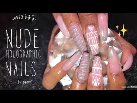 Acrylic Nails Fill | Nude Holographic Nails