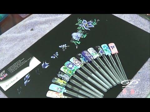 Học vẽ móng tay cọ bản, vẽ chuồn chuồn, cá, hoa hồng bằng cọ bản nail
