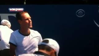 Berdych smashes racquet post match at Winston Salem
