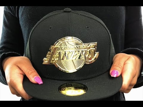 Lakers  GOLDEN-BADGE  Black Fitted Hat by New Era - YouTube bd02b5b3f55