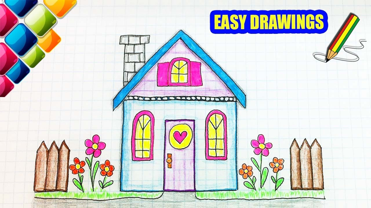 Easy drawings #278 How to Draw a Cartoon House / drawing ...