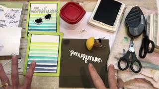 How to make a Ombre Watercolor Striped Background with Stampin Up's Pocket Full of Sunshine