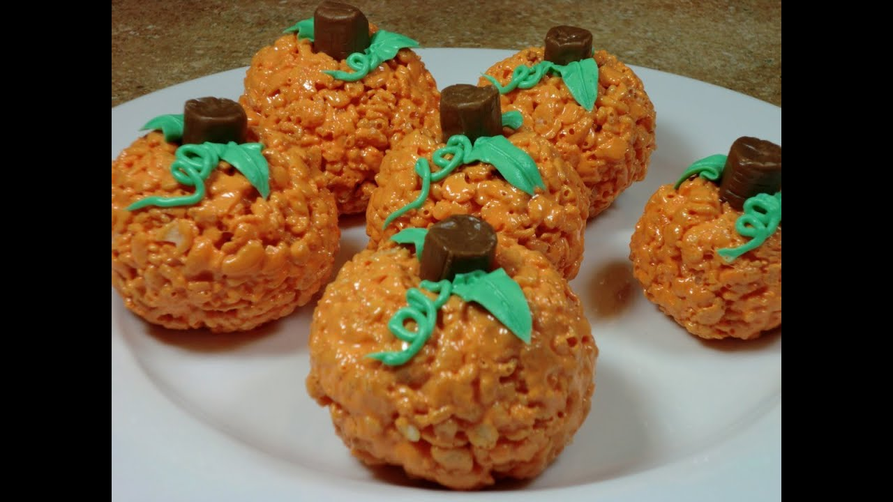 rice krispy treat pumpkins