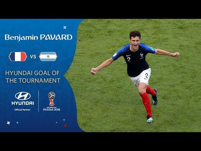 Benjamin PAVARD goal vs Argentina   2018 FIFA World Cup   Hyundai Goal of the Tournament **WINNER**
