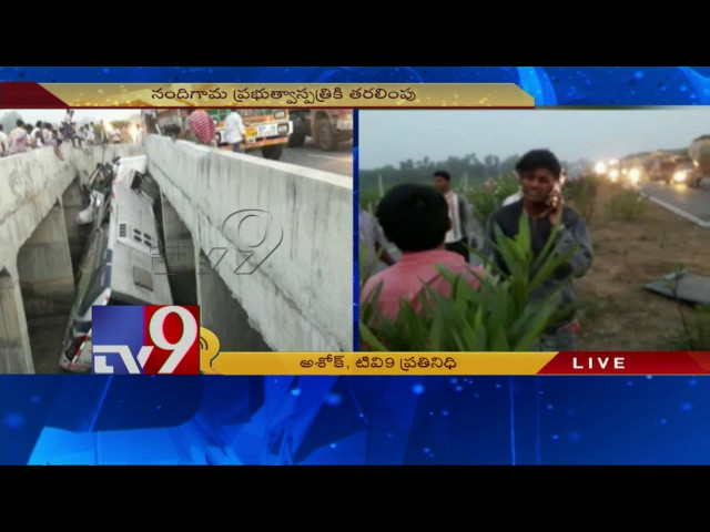 6 killed as private bus falls in between two culverts on highway near  Vijayawada