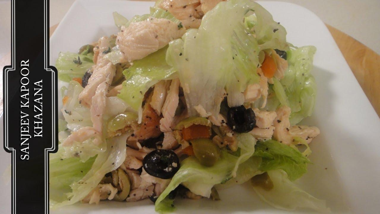 Olive And Grilled Chicken Salad Sanjeev Kapoor Khazana Youtube