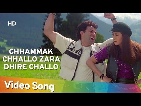 Chhammak Chhallo Zara Dhire Challo | Ajay Songs | Sunny Deol | Karishma Kapoor | Fun Song