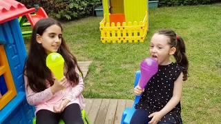 Öykü Pretend Play with his sisters Fun Kids Videos