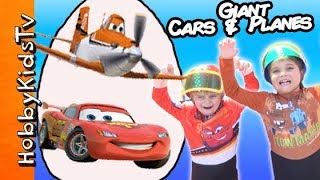 Worlds Biggest CARS + PLANES Surprise Egg! Disney, Boat Race HobbyPig HobbyFrog HobbyKidsTV