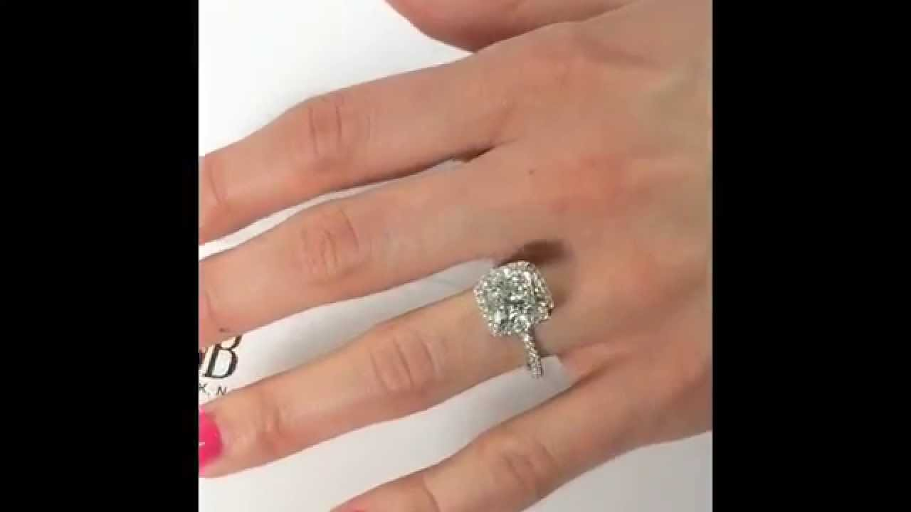 4 carat cushion cut diamond halo engagement ring youtube. Black Bedroom Furniture Sets. Home Design Ideas