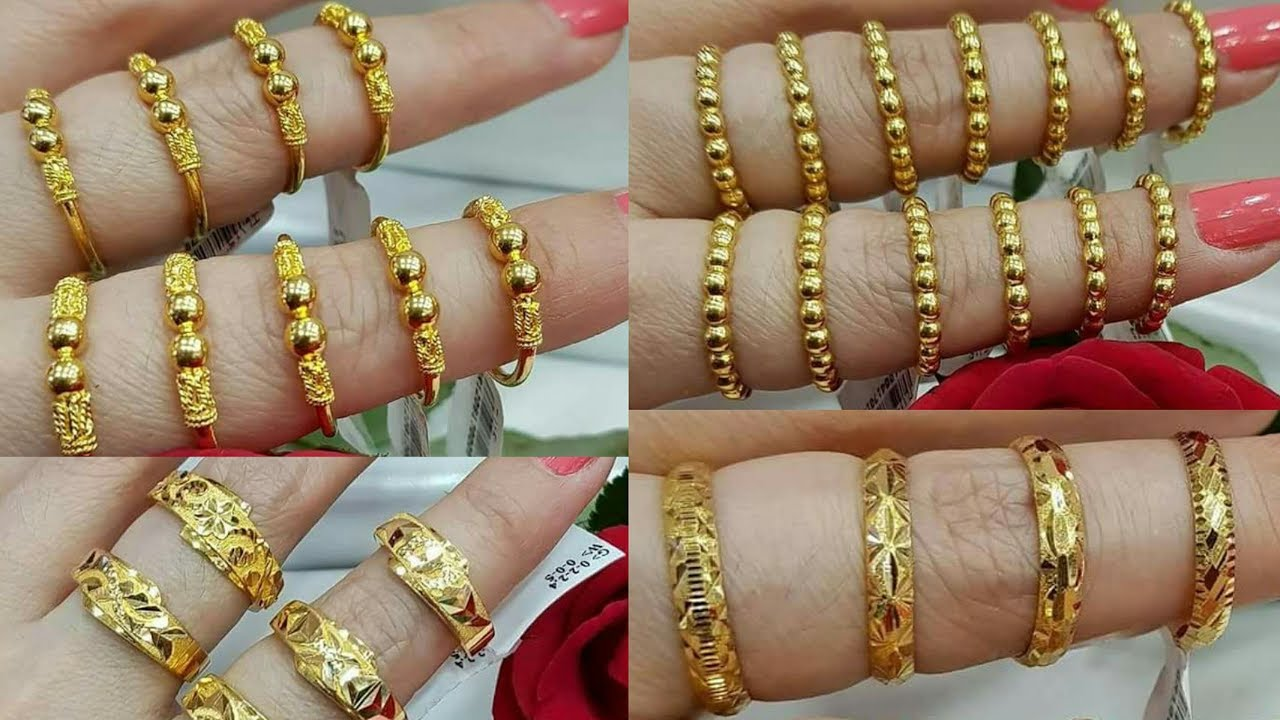 Latest Pure Gold Finger Rings Designs For Her - YouTube