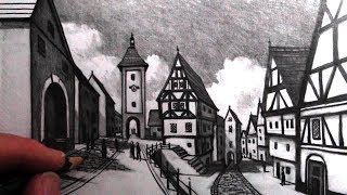 How to Draw Old Buildings in Perspective: Medieval Rothenburg