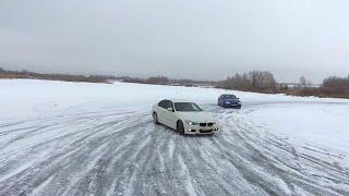 Тест-драйв и дрифт на BMW 3 серии (F30) по замерзшему озеру