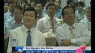 Chủ tịch nước Trương Tấn Sang chúc tết công nhân tại tỉnh Đồng Nai