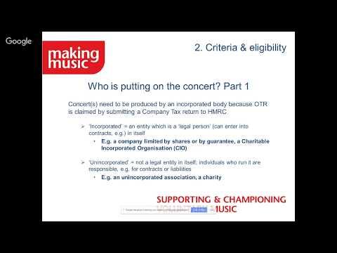Orchestra Tax Relief (OTR) webinar