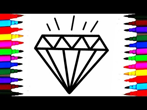 Crystals Jems Diamond Coloring Pages l How To Draw and Color Crystals Videos For Kids Rainbow Colors