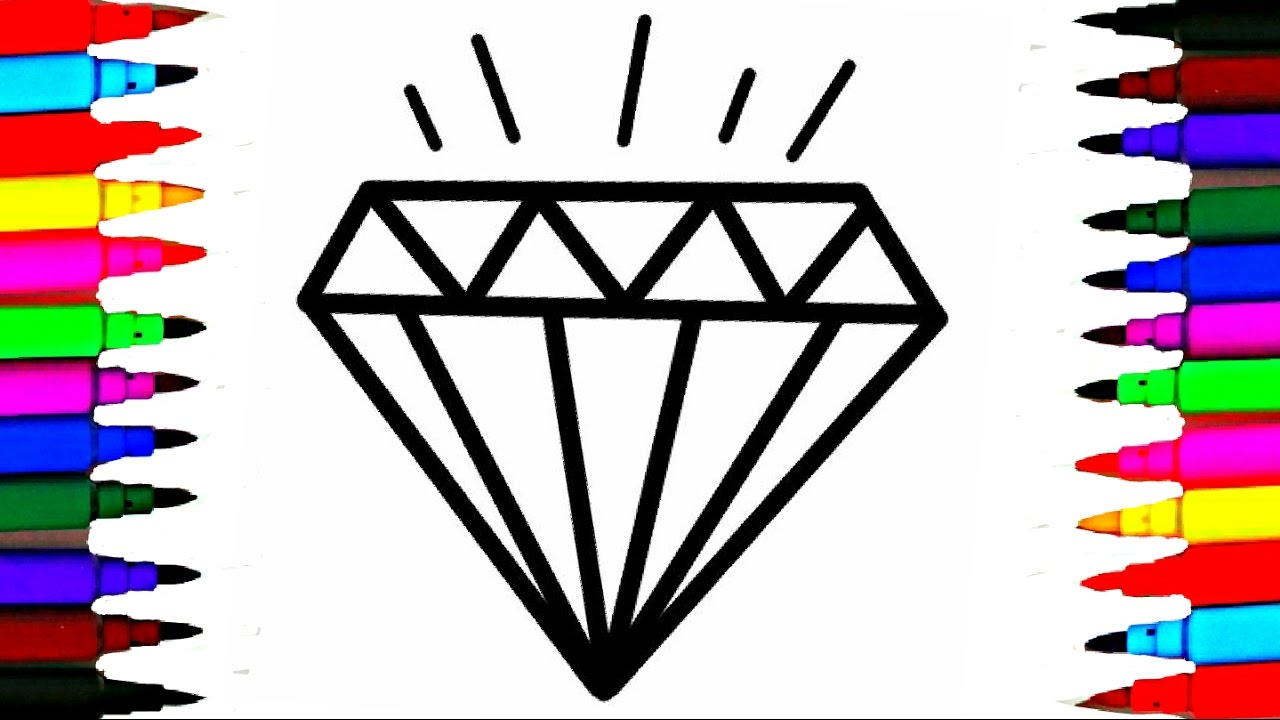Crystals jems diamond coloring pages l how to draw and for Diamond coloring page