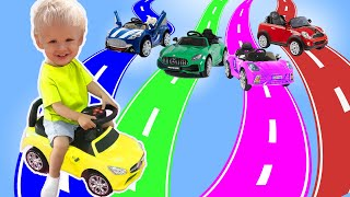 LEARN COLORS with CARS and Fruits. Mike Alice World