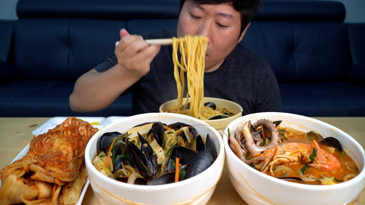 비 오는 날 속이 확 풀리는 얼큰한 홍합짬뽕, 해물짬뽕 3종 짬뽕 세트 먹방! (3 kinds of Jjamppong) 먹방!! - Mukbang eating show