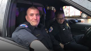 After 25 years of service, a retiring Phillipsburg police officer was brought to tears when his son broadcast his final sendoff. We're not crying, you're crying.