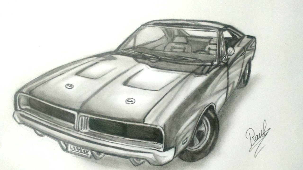 Dodge Charger 1969 speed drawing