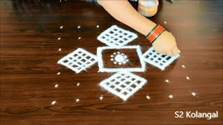 New year kolam rangoli designs - easy dots kolam - chukkala muggulu designs