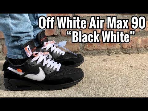 Air Max 90 Off White Black White On Feet Youtube