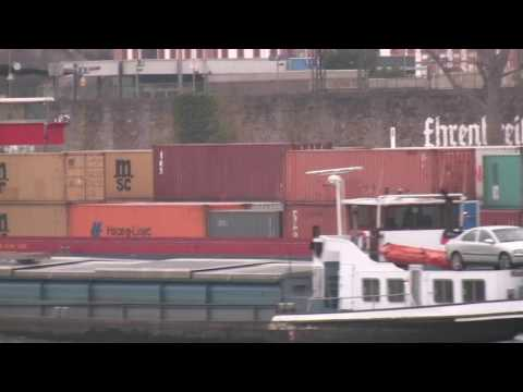 B-Roll Koblenz Germany Rhine River Boats Travel Tip Weindorf Koblenz near Walkway by Deutsches Eck