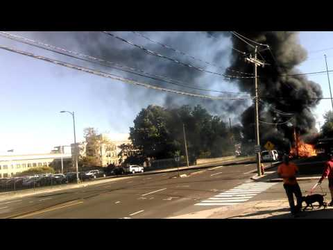 Fiery Plane Crash - Main Street, East Hartford, CT