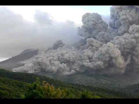 Pyroclastic flows in Tyers Ghaut, Montserrat, on 21 December 2008