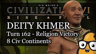 Civ 6 Livestream - Deity Khmer - Turn 162 Religion Victory - 8 Civ Continents