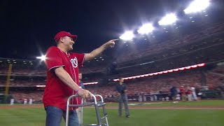 CHC@WSH Gm1: Steve Scalise throws out the first pitch