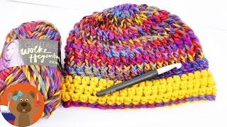 Зимняя шапочка из рельефных столбиков своими руками | Урок вязания крючком DIY идеи