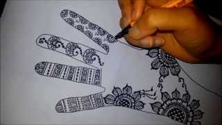 Arabic floral henna - easy mehndi design on paper -  how to draw simple henna flowers