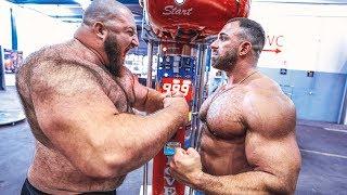 180 KG Strongman vs 120 KG Bodybuilder! Boxautomat Challenge - Dennis Kohlruss vs Kevin Wolter!