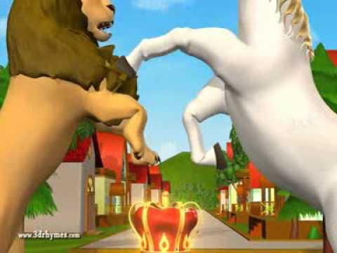 The Lion and the Unicorn  3D Animation English Nursery rhyme for children