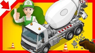 Desenhos animados betoneira. Betoneira para as crianças. Trator Escavadora Caminhão desenho animado