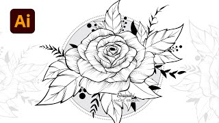 Design a Rose Floral Doodle Drawing with your own Custom Brushes in Adobe Illustrator