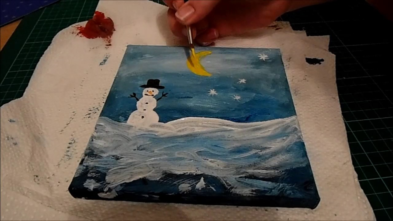 Ich Male Mit Acryl Weihnachtsbild Winter Schnee Malen Auf