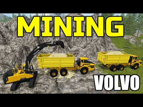 FARMING SIMULATOR 2017 | MINING WITH NEW VOLVO EXCAVATOR | MULTIPLAYER